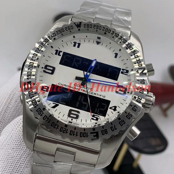 5.White Cadran bleu Mains bracelet métal