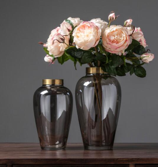 Sencillo y moderno jarrón de cristal transparente decoración nórdica modelo creativo sala de estar arreglo floral arreglos decorativos