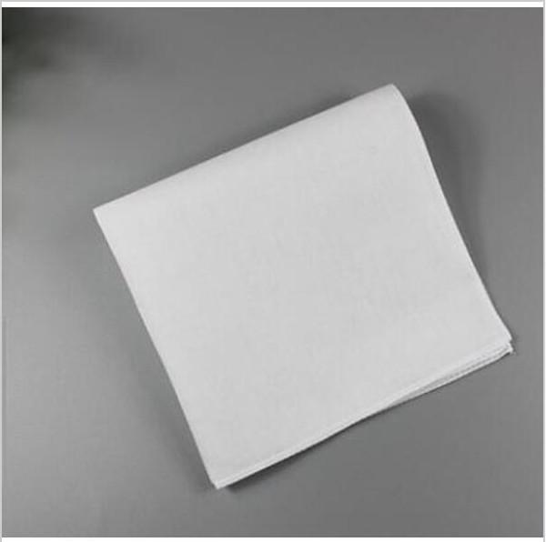 20 adet Saf Beyaz Hankerchiefs 100% Pamuk Mendiller Kadın Erkek 28 cm * 28 cm Cep Meydanı Düğün Düz DIY Baskı Hankies Beraberlik