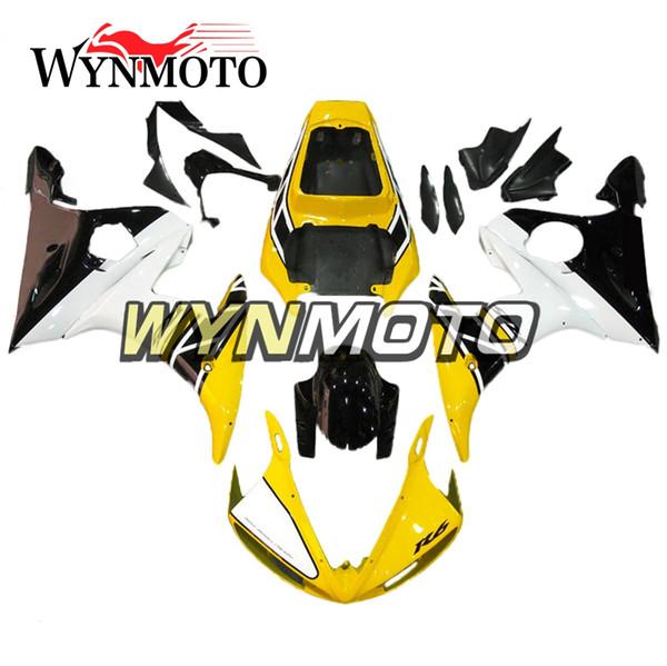 Carenature per motocicli nero bianco giallo per Yamaha YZF 600 R6 2005 05 Coperture per motocicli per motocicli di iniezione di plastica ABS
