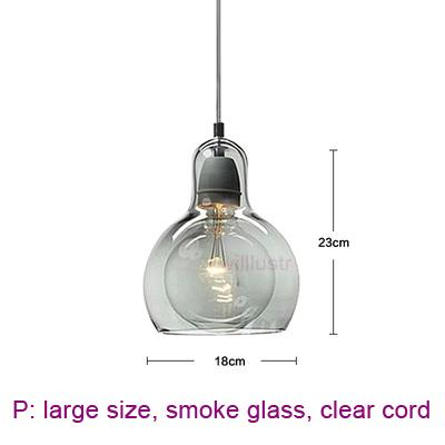 large, smoke glass, clear cord