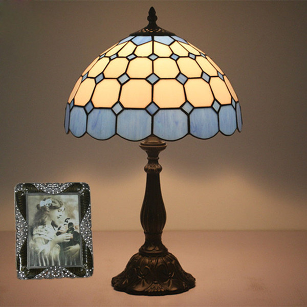 2019 Mediterranean Style Blue Table Lamp Modern Simple Wedding Room Bedroom  Bedside Counter Lamp Fashionable Creative Glass Decorative Desk Lamp From  ...