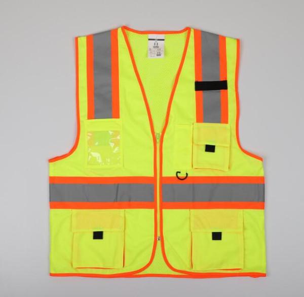 Giallo Vest Gilet Jaune Edilizia Traffic Safety riflettenti Gilet Mens Donne Panelled Giallo maglia casuale allentato delle parti superiori Abbigliamento