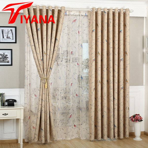 2019 Rustic Birds Flowers Pattern Design Home Window Blackout Cloth  Curtains For Bedroom Living Room Kitchen Bay Window P128Z20 From Aozhouqie,  $39.05 ...