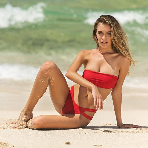 2019 New Sexy Bikini Set Red Solid Beachwear Damen Crop Top Wrapping Brust Bandeau Bademode Zweiteiler Push Up Gepolsterter Off Shoulder Badeanzug