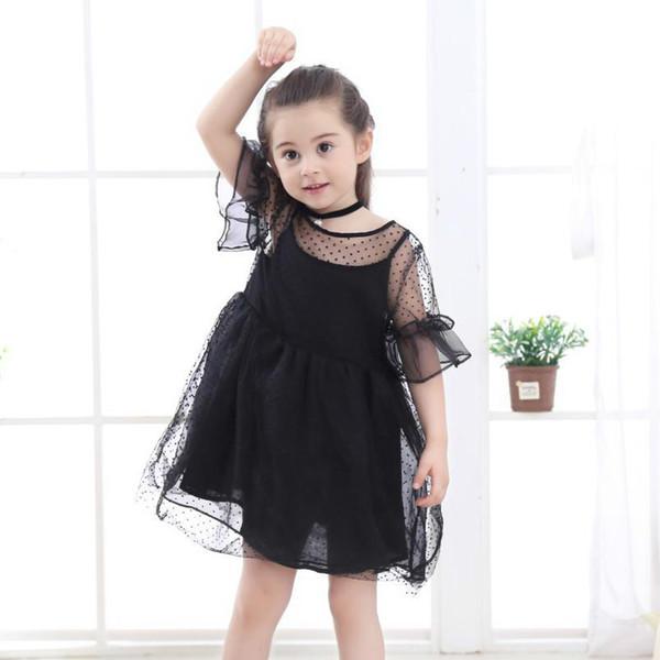 Sommer Mädchen Kleidung Kinder Kleider Schwarz Spitze Blume Kleid Mädchen Party Hochzeit Kleid Kinder Prinzessin Mädchen