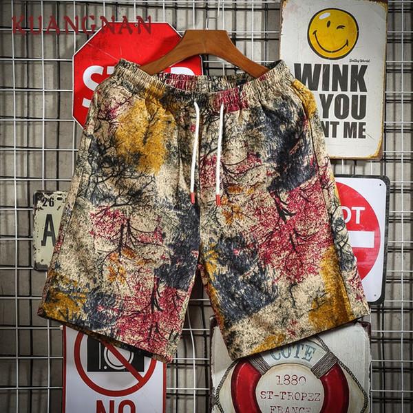 KUANGNAN Pantaloncini in cotone da uomo casual estate Streetwear Pantaloncini in cotone da uomo estivo Uomo in cotone 5XL 2019 Nuovo