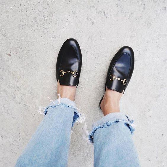 New Designer Spring Summer Shoe Black Gold Red Leather Street Style Ladies Mules Horsebit Slippers Outdoor Buckled Flat Slides Casual Shoes