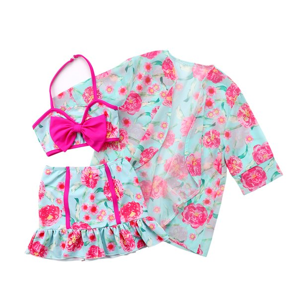 3pcs Girls Clothes Set Summer Fashion Girls Two Pieces Swimwear Skirts Bikini Set Baby Swimsuit Flower Cove Up Beach Wear