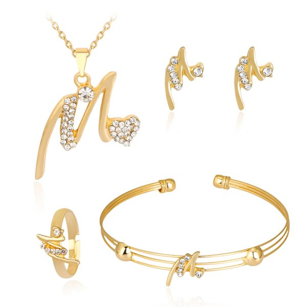 Cross-border hot new necklace set Exquisite alloy diamond necklace earrings jewelry four-piece set hair accessories for women