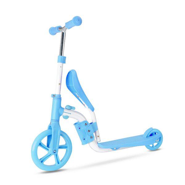 Bike Scooter for Kids Children with Folding Seat 2-in-1 Adjustable Kick Scooter Skateboard Walker Bike