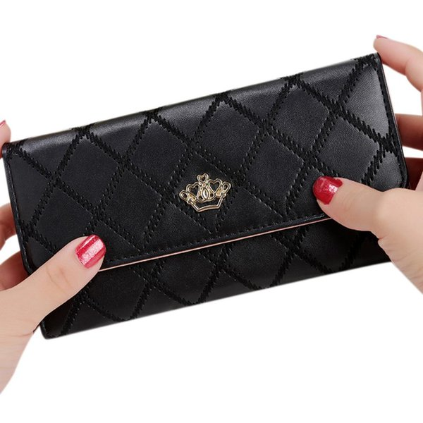 Yfashion Women's PU Leather Wallet Clutch Crown Diamond Lattice Wallet Multi Card Pockets Long Cash Holder Purse