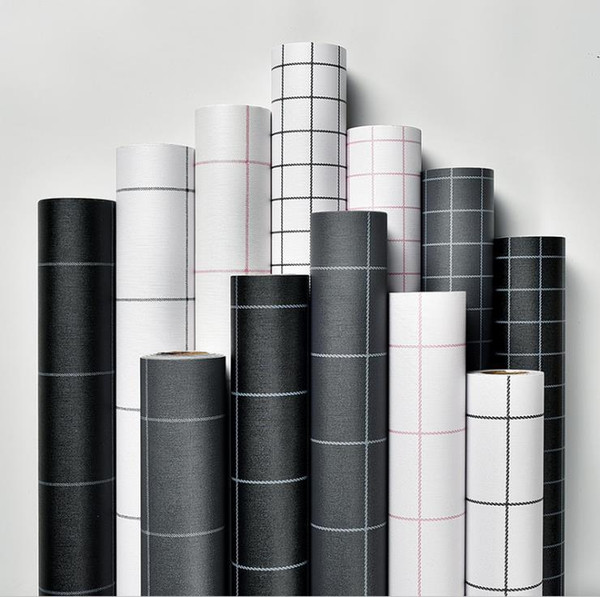 Wallpaper self-adhesive square grid black and white simple PVC waterproof wall sticker bedroom living room wall renovation wallpaper 60cm