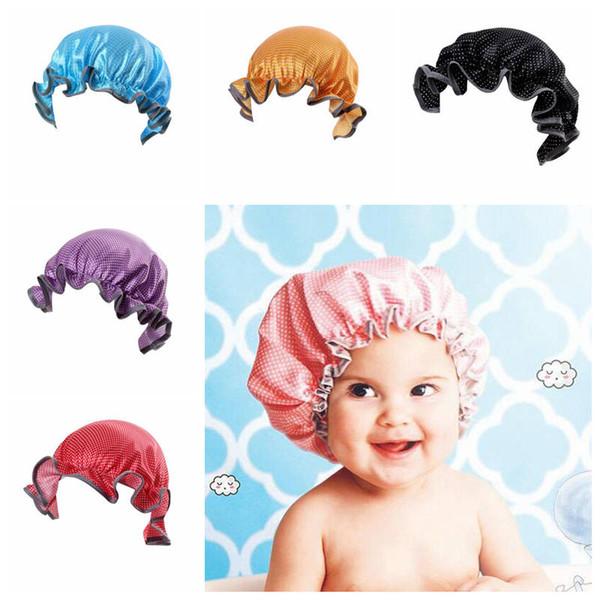 bébé bonnet de bain dot PEVA douche Nouveau-né casquette de bain double pont enfants chapeau bonnet de bain douche enfant 6 style YSY294