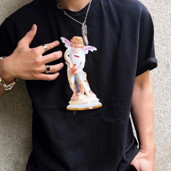 19ss USA Fashion Haute Qualité Boîte D'été Logo Cupidon Ange Statue Tee Planche À Roulettes Hommes designer t-shirt Femmes Rue De Luxe Casual T-shirt