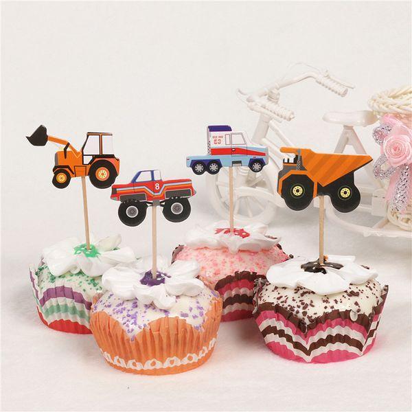 24 pcs dos desenhos animados caminhão do carro cupcake toppers escolhe festa de aniversário decoração do chuveiro de bebê