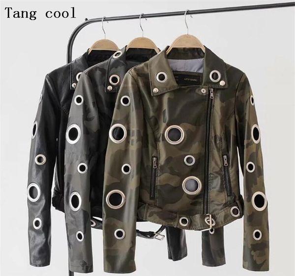 2019 Invierno Ojal camuflaje chaqueta de imitación de cuero de las mujeres capa de metal punk anillo de remaches de la motocicleta de la calle Negro mujeres ciclista jacket75