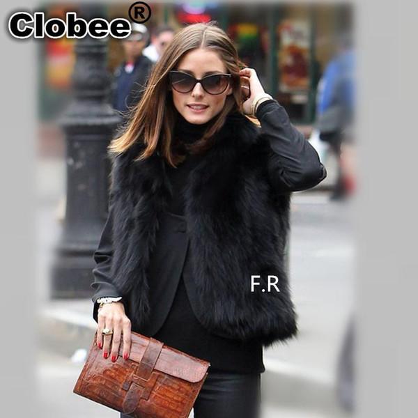 Plus Size 5XL 6XL White Black Women's Faux Fur Gilet Coat Winter Fox Fur Vest Short V-Neck Waistcoats Jacket Outwear Y858