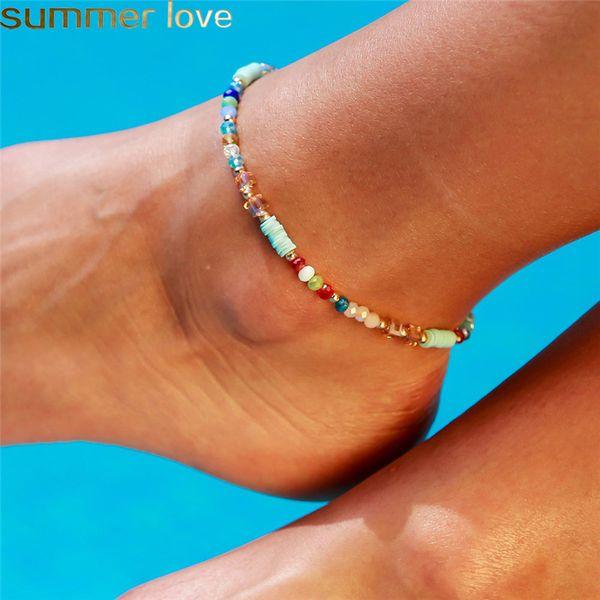 Kadınlar Için yaz Kristal Boncuk Halhal Kadın Yalınayak Sandalet Ayak Takı Kadınlar Için Çok Renkli Ayak Bileği Bilezikler Bacak Zincir Takı