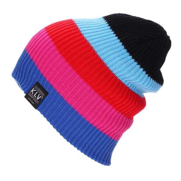 New Winter Hats For Women Men Ski Turban Hat Casual Beanies Skullies Beanie Knitted Cap Autumn Fashion Unisex Striped Baggy Caps