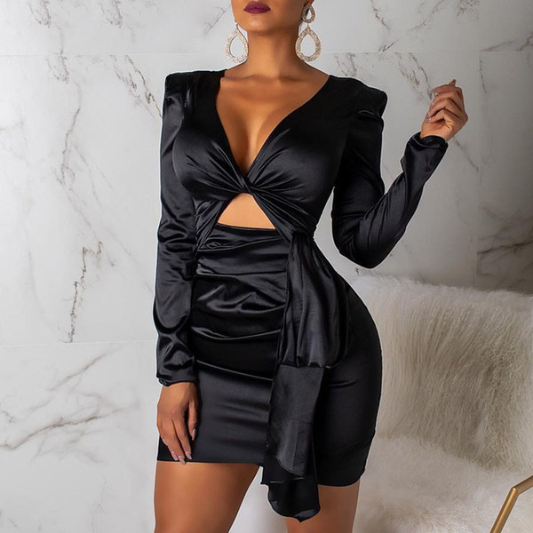 Vintage Satin V Cou Noir Sexy Dress Femmes D'été Moulante Court Club Robe Élégant Bandage Party Night Dress Casual