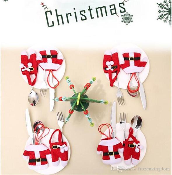 New Year Merry Chirstmas Knife Fork Posate Set Skirt Pants 2018 lChristmas Decorazioni per la casa di Natale