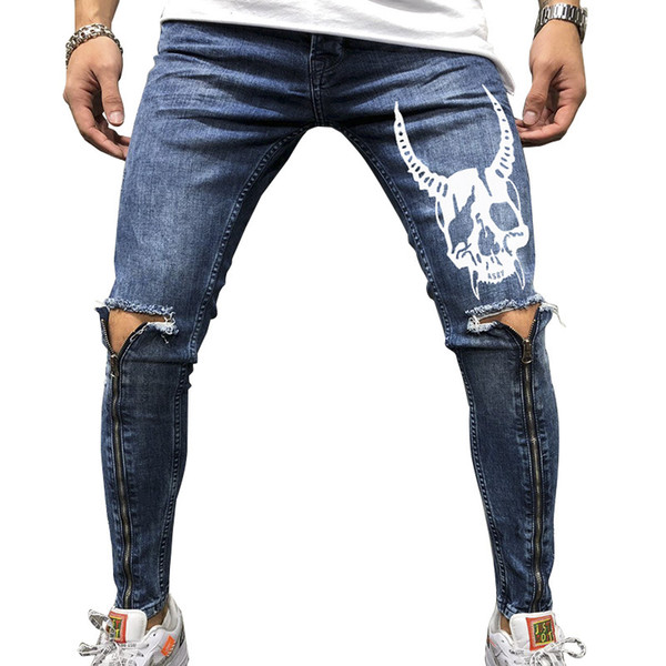 Men's Print Distressed Slim Skinny Jeans For Boys New Hole Zipper Casual Athleisure Sportswear Long Denim Pencil Pants