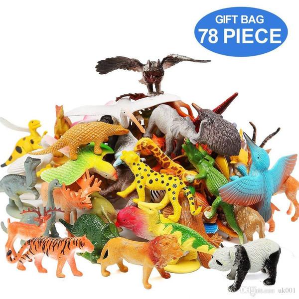 Figures d'animaux Ensemble de 78 assortiments réalistes 32 animaux de la mini-jungle 12 dinosaures 12 oiseaux 22 accessoires Party Favors Toys PlaySet For