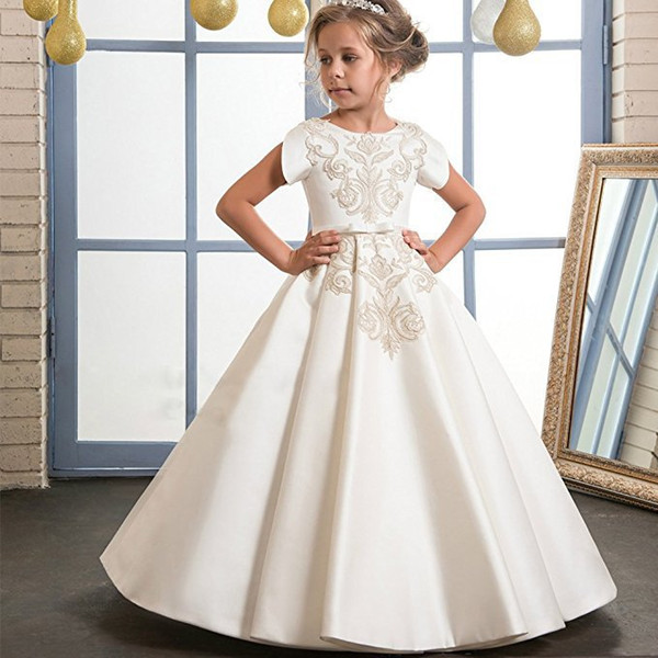Schöne Goldstickerei Elfenbein Blumenmädchenkleider Für Hochzeit Kurzarm O Ausschnitt günstige erste heilige Kommunion Mädchen Festzug Kleider