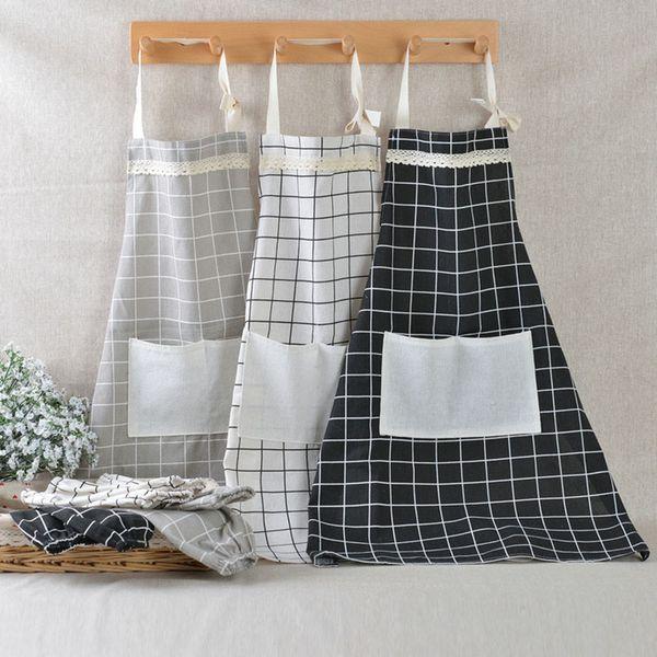 best selling Plaid Lace Apron Korea Adjustable Kitchen Cooking Apron Unisex Kitchen Cook Apron With Pockets Home Textiles Tool 5 Color WX9-1309