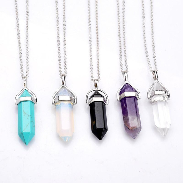 best selling Bullet Shape Real Amethyst Natural Crystal Quartz Healing Point Chakra Bead Gemstone Opal stone Pendant Chain Necklaces Jewelry WCW082