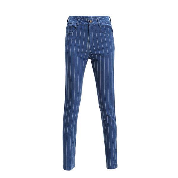 Abbigliamento Donna Primavera 2019 Blu scuro Streetwear Casual Pantaloni a vita alta verticali Jeans a righe Pantaloni Femme
