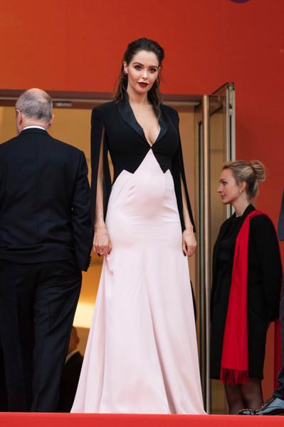 2019 sexy noir rose multi colo soirée robes de célébrités Deep col en V avec des manches de bal Prom Festival du Film de Cannes tapis rouge robe de cérémonie robes de soirée