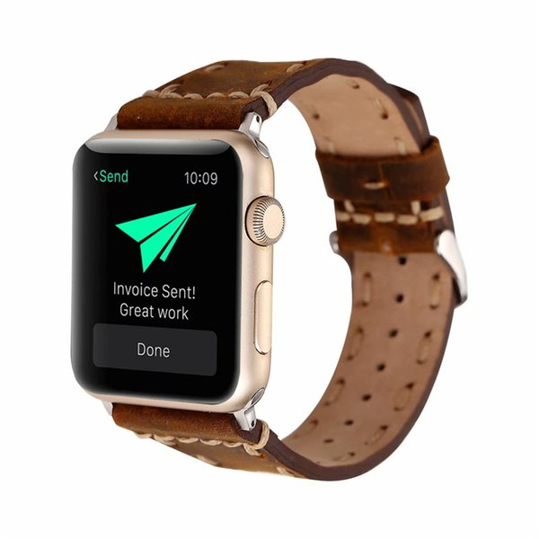 Genuine Leather Strap for Apple Watch 38mm 42mm Quick Release Watch Band Replacement with Stainless Metal Buckle Clasp Business