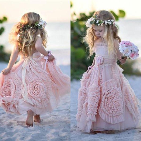 Nuevos vestidos de niñas de flores para bodas Flores en 3D Halter de encaje Sin mangas Chica Ropa formal Vestir Vestidos de desfile de Long Beach Beauty Girl