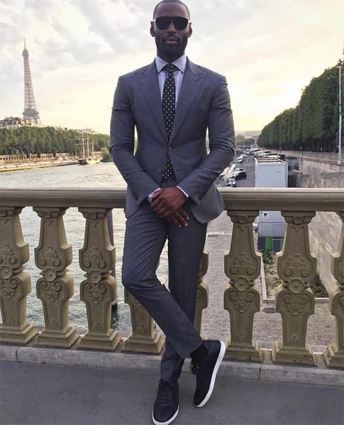 Dark Grey Groom Tuxedos Peak Lapel Men Wedding Tuxedo Fashion Men Jacket Blazer Men Dinner/Darty Suit Custom Made(Jacket+Pants+Tie) 1288