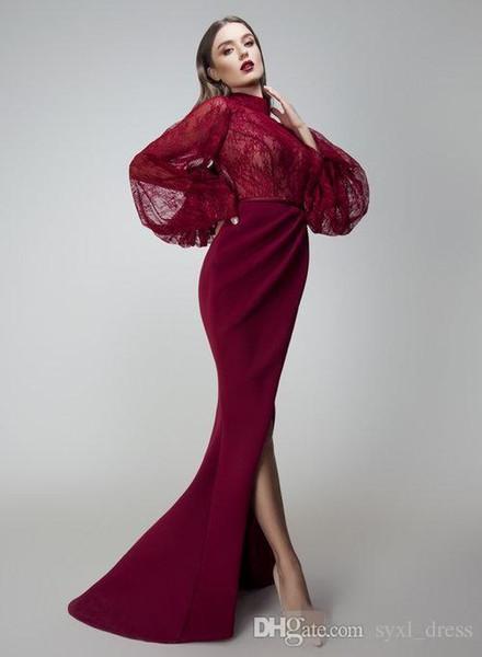 Yousef Aljasmi Burgund Mermaid Prom Dresses mit langen Ärmeln Side Split Arabisch Abendkleider bodenlangen Abendkleid
