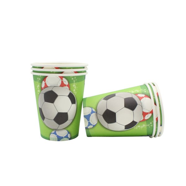 6pcs Disposable Cups Tableware Green Football Birthday Party Supplies Easter Wedding Decorations Kids Boy Baby Shower Blue Cups