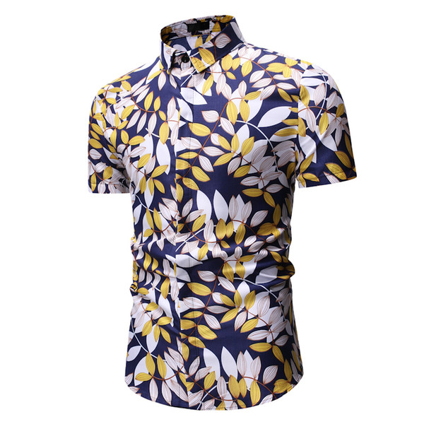 2019 Fashion Floral Mens Shirts Plus Size Flower Printed Casual Camisas Masculina Male Shirt good quality