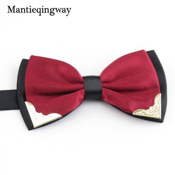 Mantieqingway liens solides Bowtie Loisirs Affaires Chemises bowknot Bow Cravates Lavallière Accessoires polyester Bow Tie Hommes pour mariage