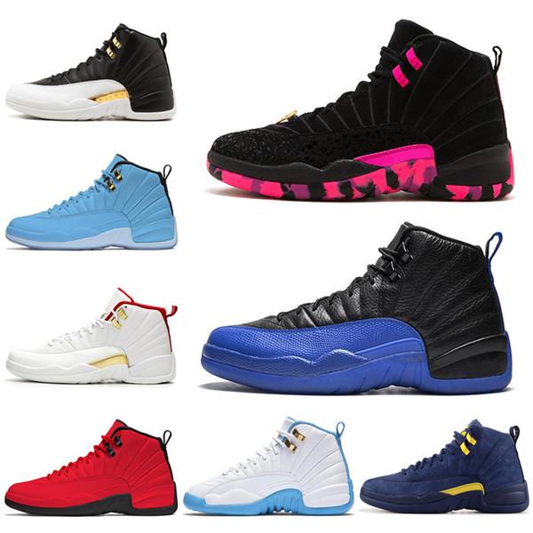 nike air jordan retro 12 Chaussures de basket en gros Gym Red Bulls 12 12s Michigan UNC le maître de Bordeaux taxis PSNY playoffs Designer de sport Sneakers taille 7-13