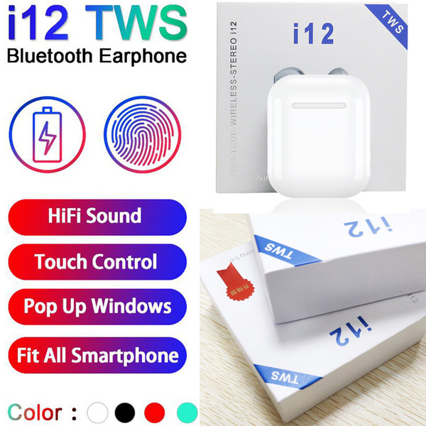 I12 TWS bluetooth 5.0 cuffie bluetooth wireless supportano finestra pop-up auricolari auricolari cuffie wireless di controllo tocco di colore