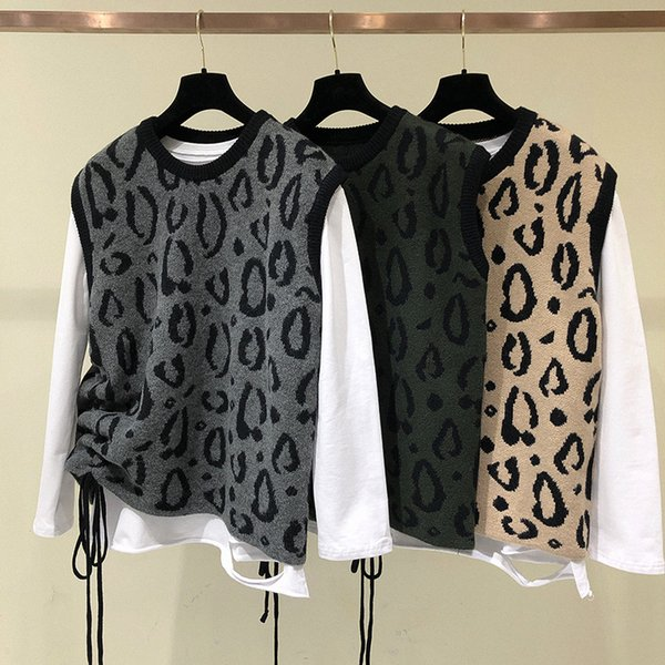 Leopard Print Knitted Vest For Women 2019 New Spring Korean Fashion Sleeveless Female Cashmere Sweater Pullover Ladies Waistcoat
