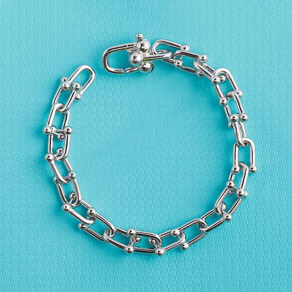 2019 Hardwear Chunky Chain Bracelet Sterling Silver 925 lover bracelet New Trendy Gift bracelet women Jewelry in four clors Summer Style