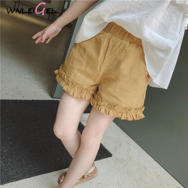 Wlg Girls увидят шорты желтые рюшами твердые случайные шорты хлопчатобумажные брюки детская детская одежда на протяжении всего матча
