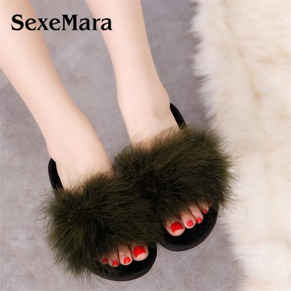 Hiver Femmes Pantoufles En Peluche Chaud Accueil Pantoufle Chaussures D'intérieur Fox Fur Flip Flops Dames Diapositives Casual Chaussures taille 36 ~ 41