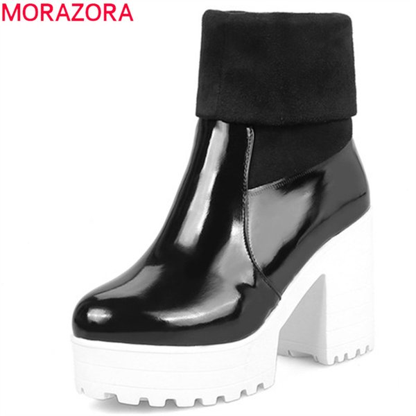 MORAZORA 2019 new arrival women ankle boots round toe slip on high heels platform boots party prom shoes woman autumn