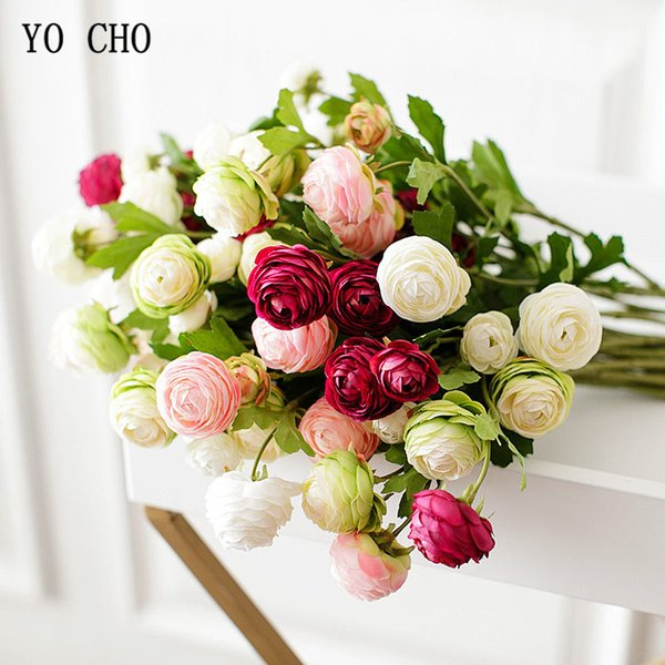 Artificial & Dried YO CHO 3 Heads/Branch Rose Artificial Flowers Pink White Silk Peonies Tea Roses Long Small Fake Flowers Wedding