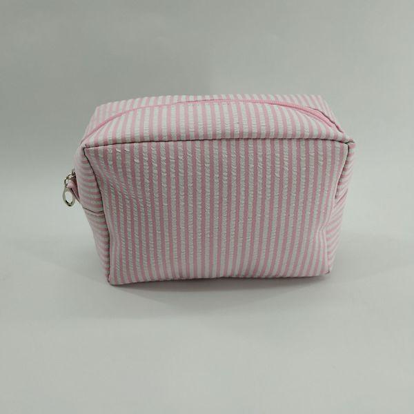 500 pcs Mulheres Listrado retângulos seersucker Flap Zipper sacos de Cosméticos 4 cores Presente para Viagens