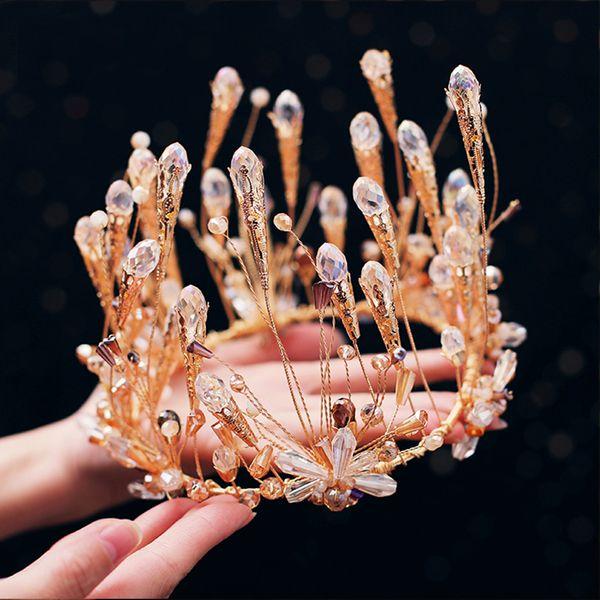 Großhandel Barock Goldene Hochzeit Zubehör Kristall Diademe Handgefertigte Perle Krone Braut Braune Krone Schmuck Von Twobabys 561 Auf